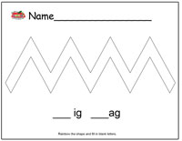 Zig Zag Rainbow Worksheet
