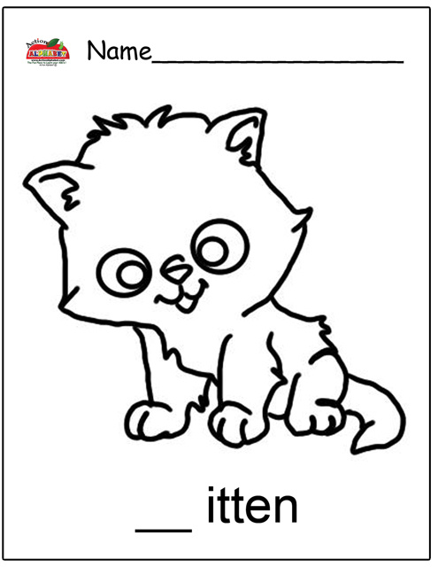 k is for kitten coloring pages - photo #13